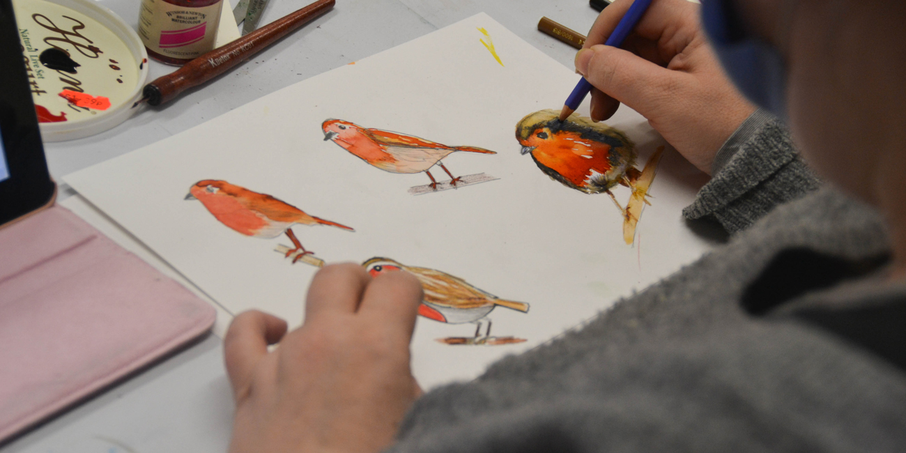 Art in the Park artists perfect their bird studies.