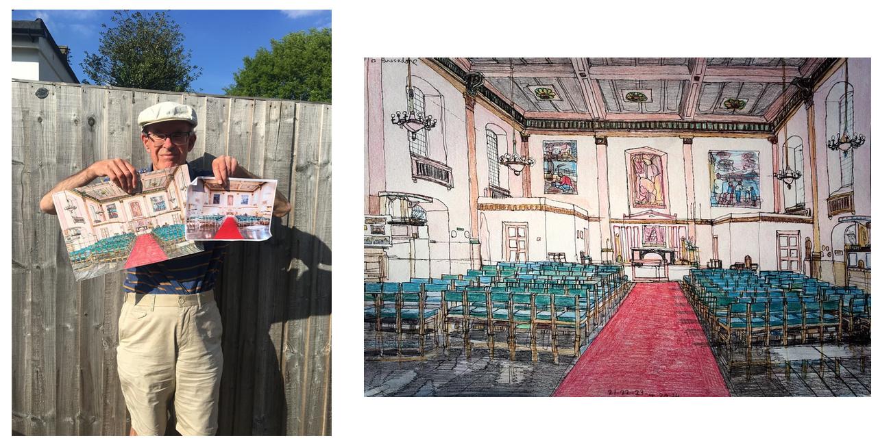 Artist David Bassadone and his original artwork of St Johns Waterloo.