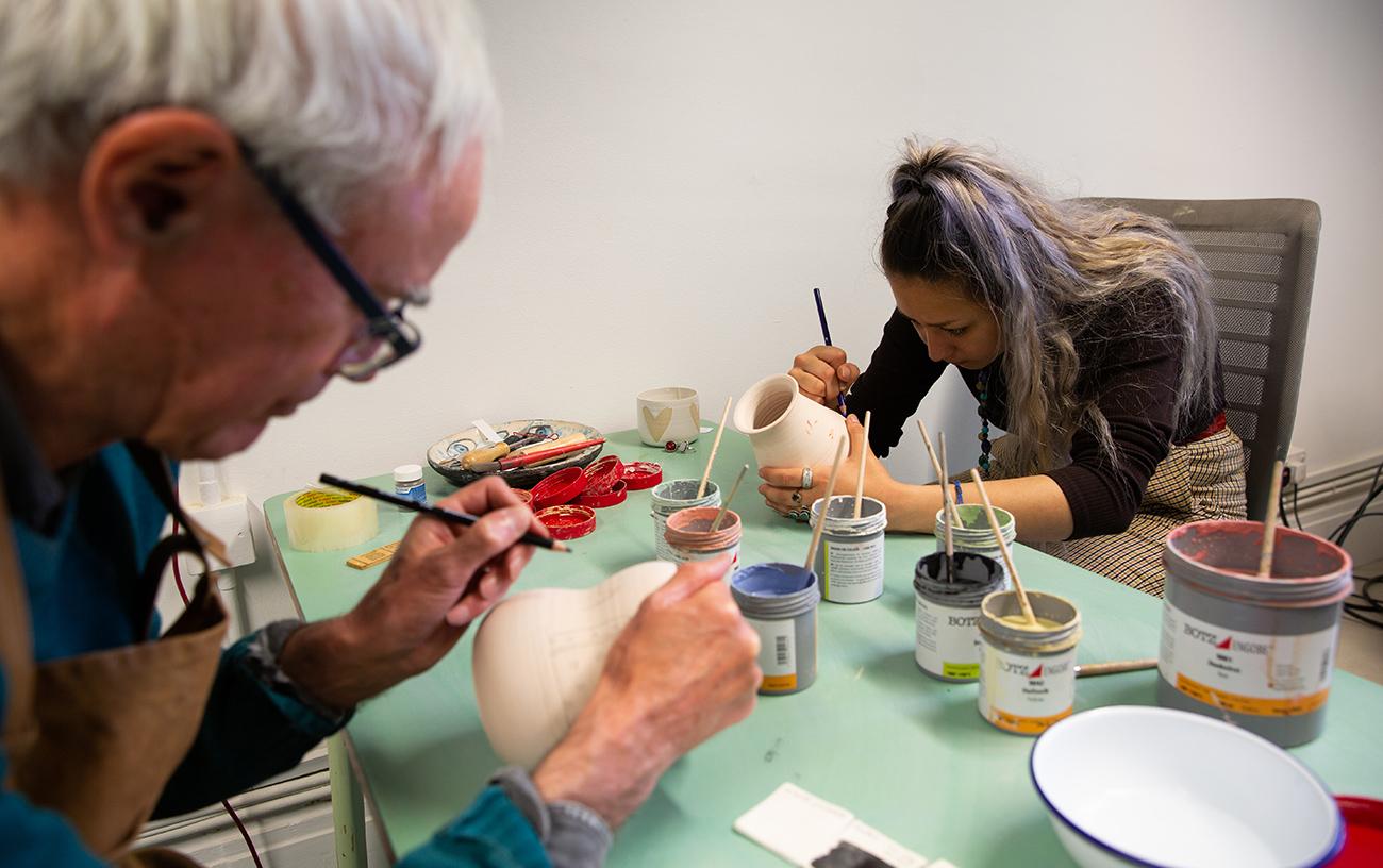 David Bassadone and Yangdzom at work in our ceramic studio.