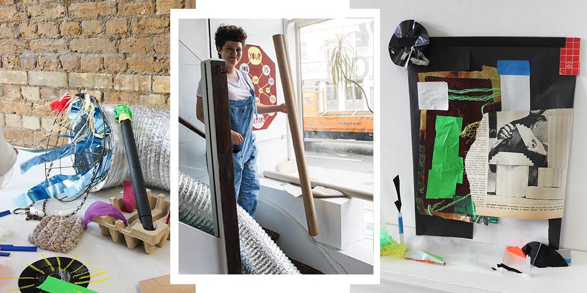 Hart School tutor Katherine Smith alongside students sculptures.