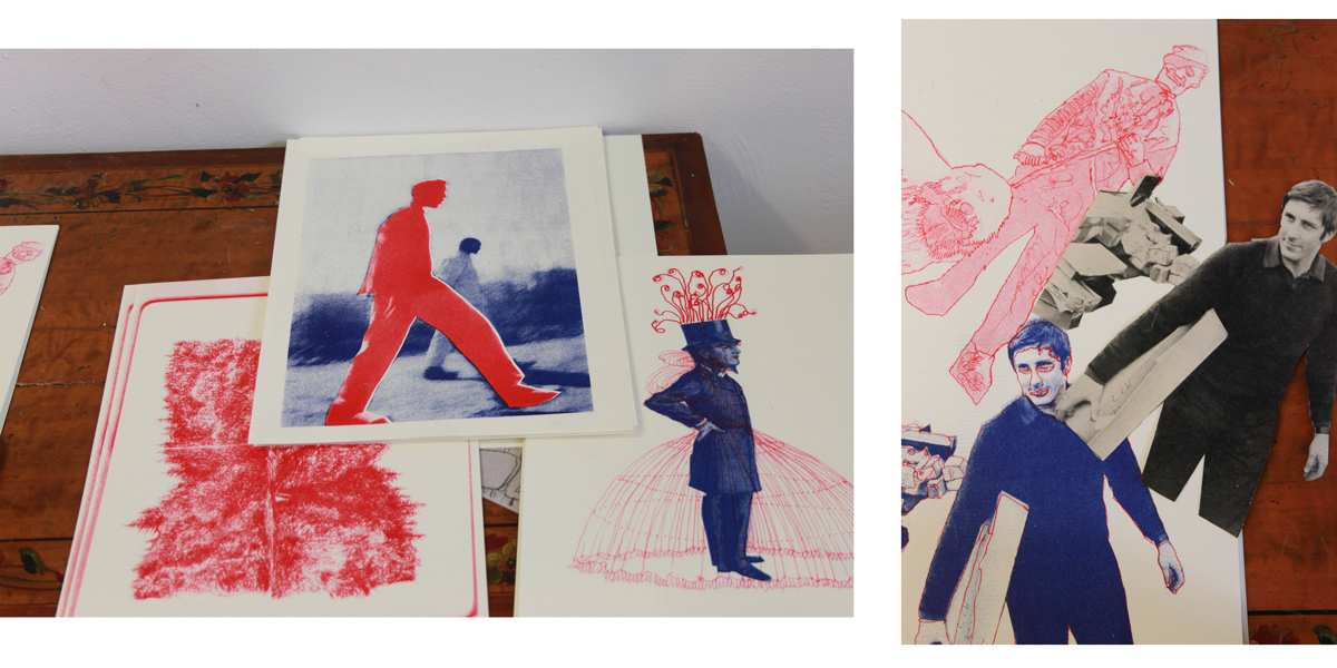 Two layer riso prints using collage and hand drawn elements.