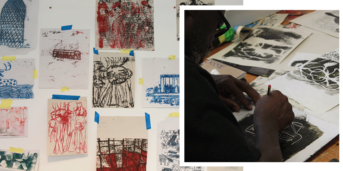 Hart School student Barry experiments with mono printing.