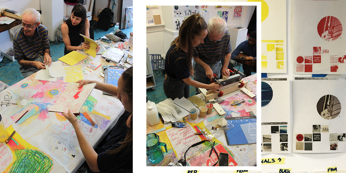 The second part of the week saw our students bind their prints into sketchbooks with traditional book binding methods