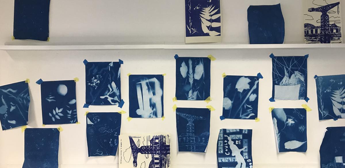 Cyanotypes by Hart School students
